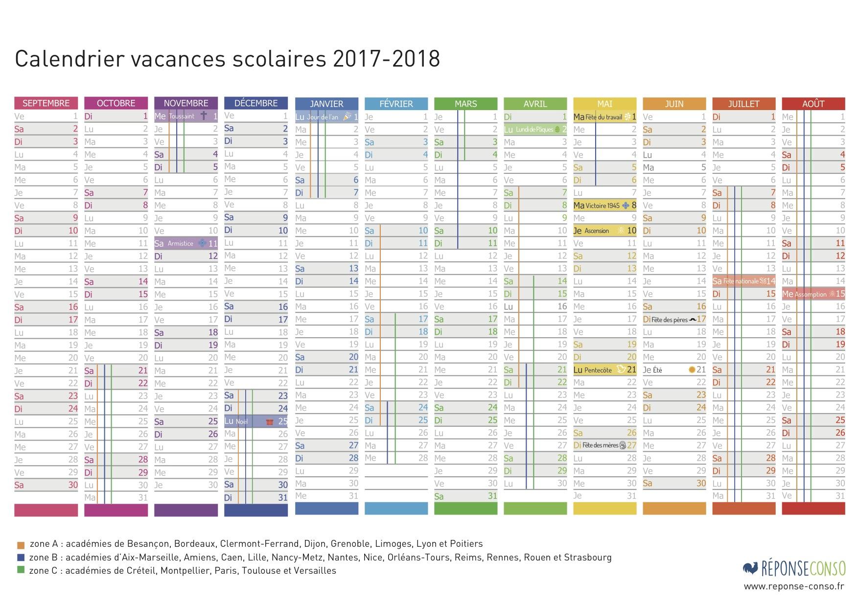 Imprimez Votre Calendrier Des Vacances Scolaires 2017 2018