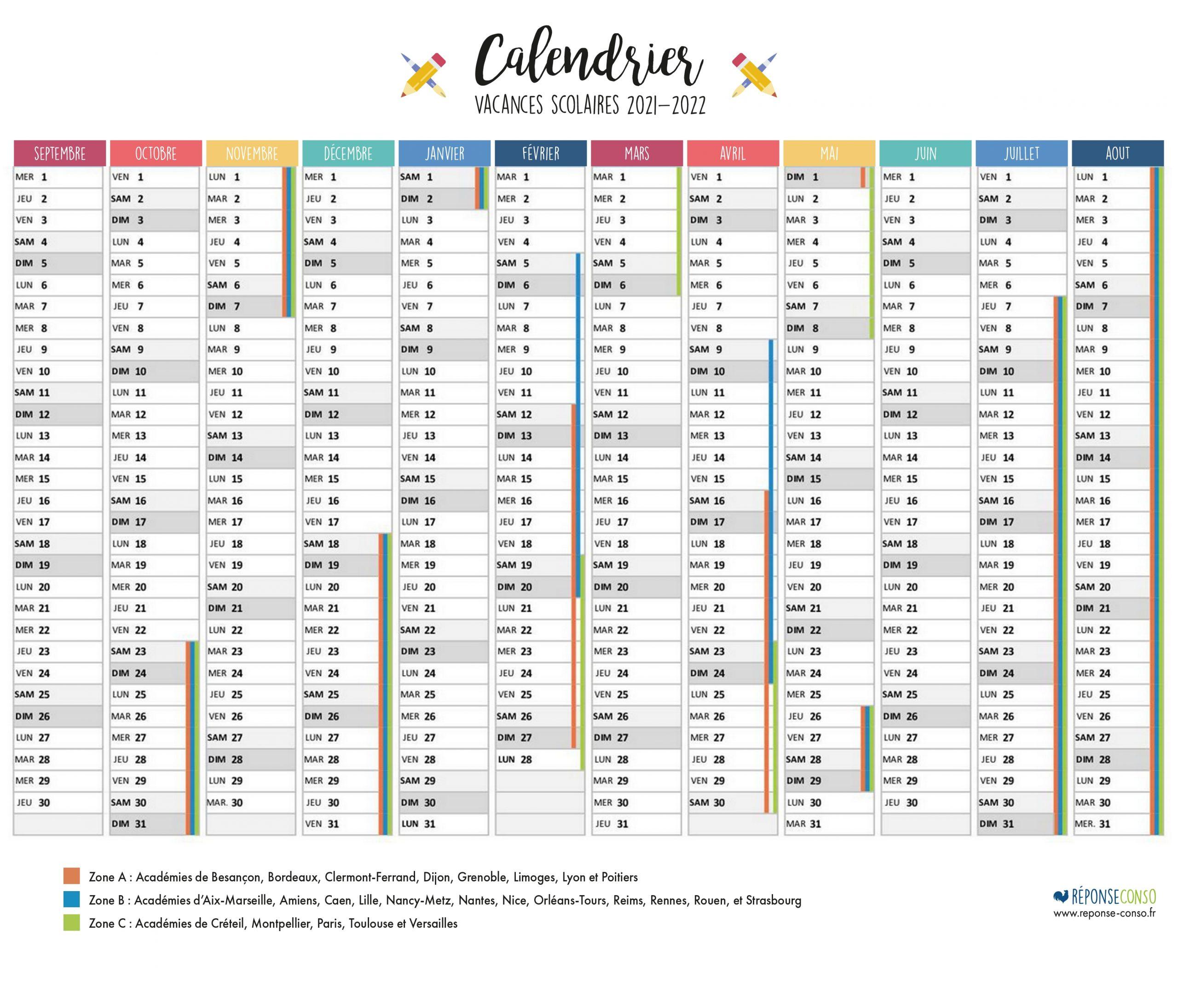 Dates des vacances et jours fériés année scolaire 2021- 2022